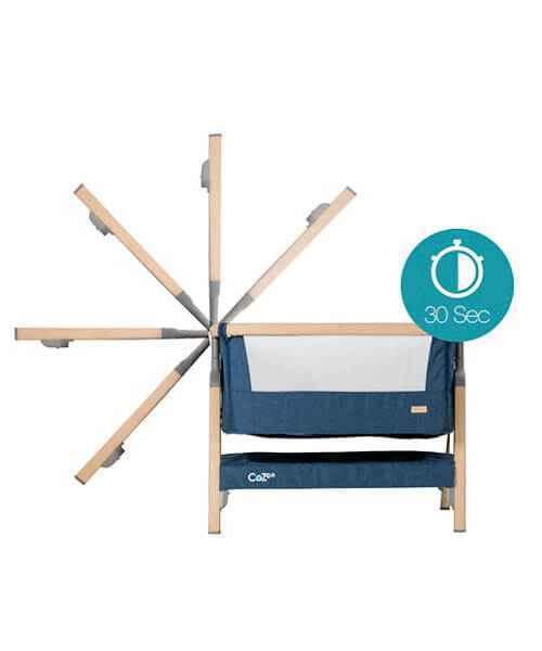 Tutti Bambini CoZee Bedside Crib - Oak & Blue - gigel - 3