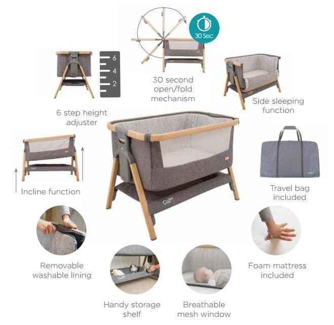 Tutti Bambini Cozee Bedside Crib-Silver Grey-GIGEL-3