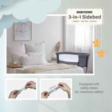 Babydoes 3 in 1 Side Bed Baby Box - Light Grey
